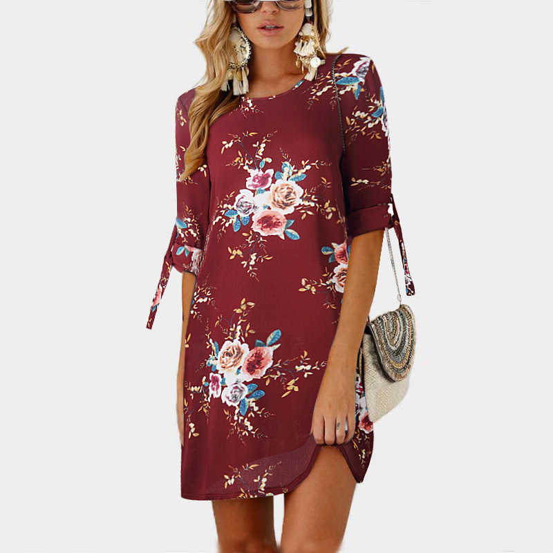 7ef076776ad5 Women Short Casual T Shirt Dress Summer Boho Floral Printed Short Sleeve  Loose Mini Beach Party Dress YS80881-burgundy