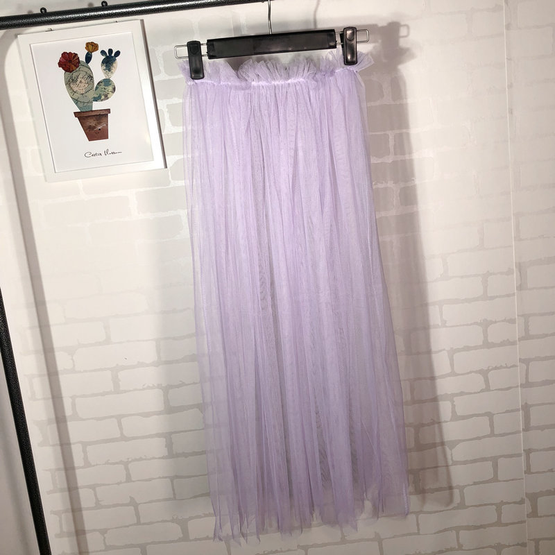 Summer Style Sheer Tulle Skirts A Line Tea Length High Waist Sexy Women See Through Skirt lilac
