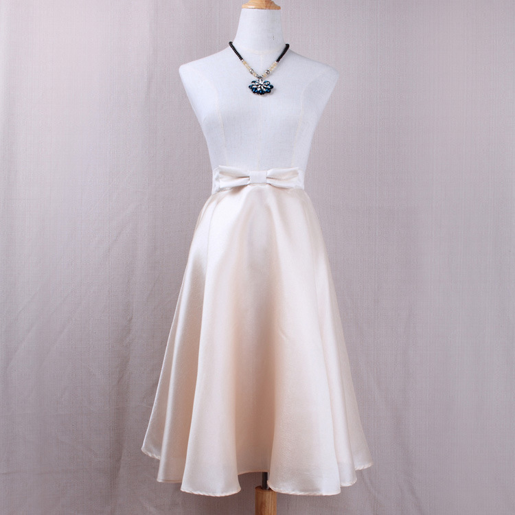 Fashion Bow High Waist A-Line Midi Skirt Women Solid Work Swing Skater Skirt apricot