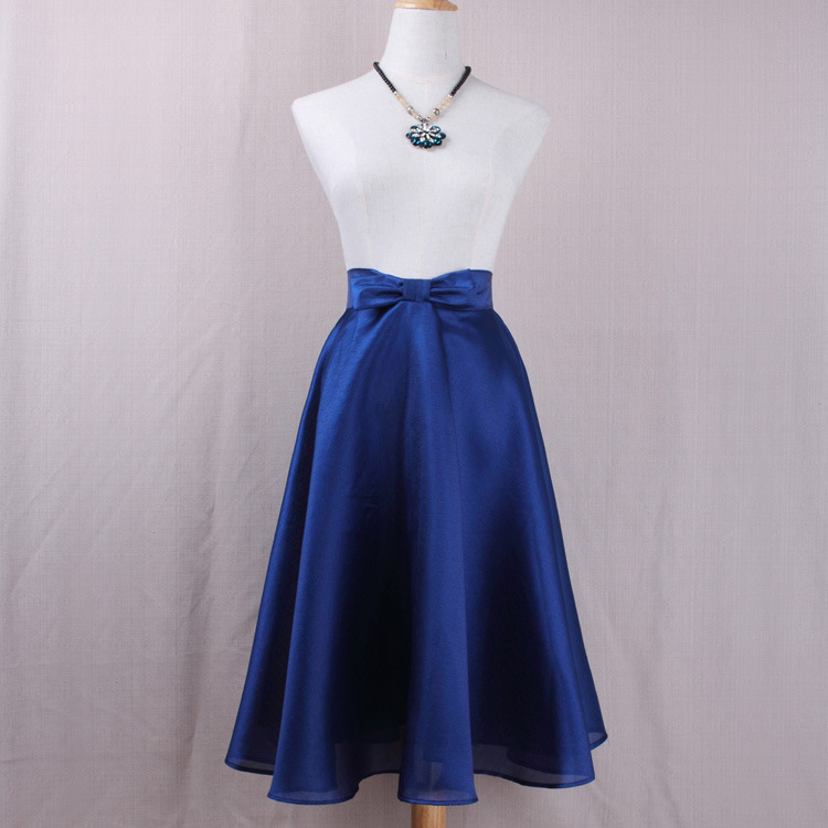 Fashion Bow High Waist A-Line Midi Skirt Women Solid Work Swing Skater Skirt dark blue