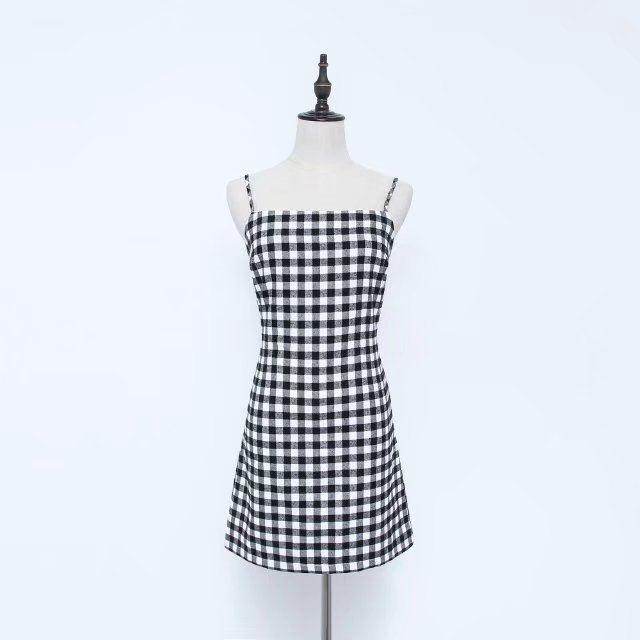 Women Summer Beach Dress Sexy Spaghetti Strap Sleeveless Tie Back Bow Casual Slim Mini Party Sundress plaid