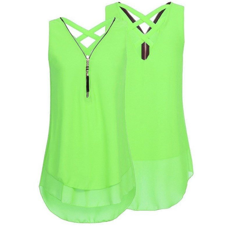 Plus Size Summer Tank Top Women Tunic Zipper V Neck Sleeveless Criss Cross Casual Vest Fluorescent green