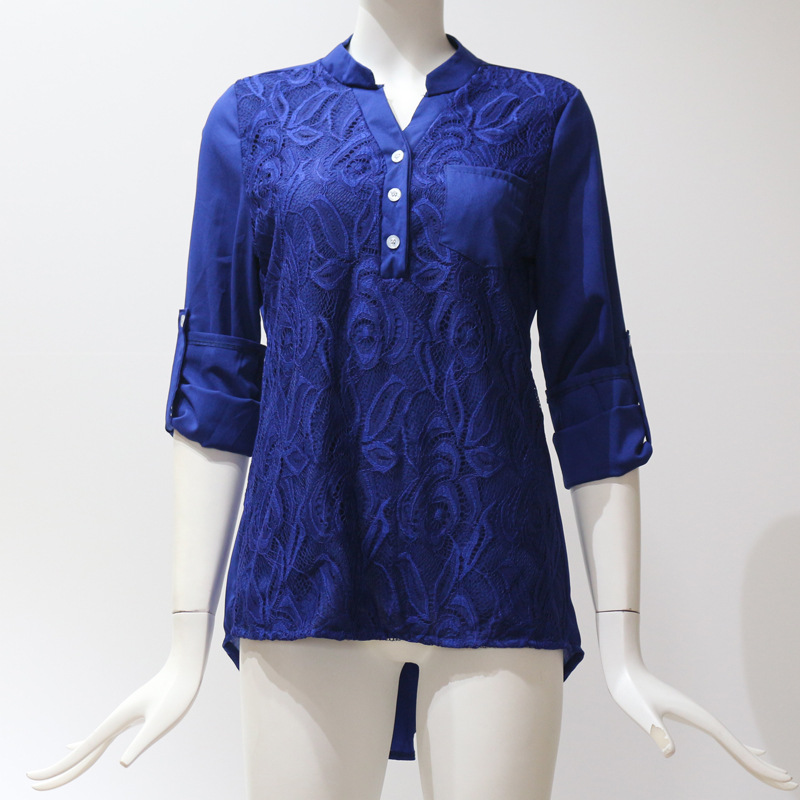Women Tunic Chiffon Loose Blouse Floral Lace V Neck Long Sleeve Work OL Ladies Top Shirts blue