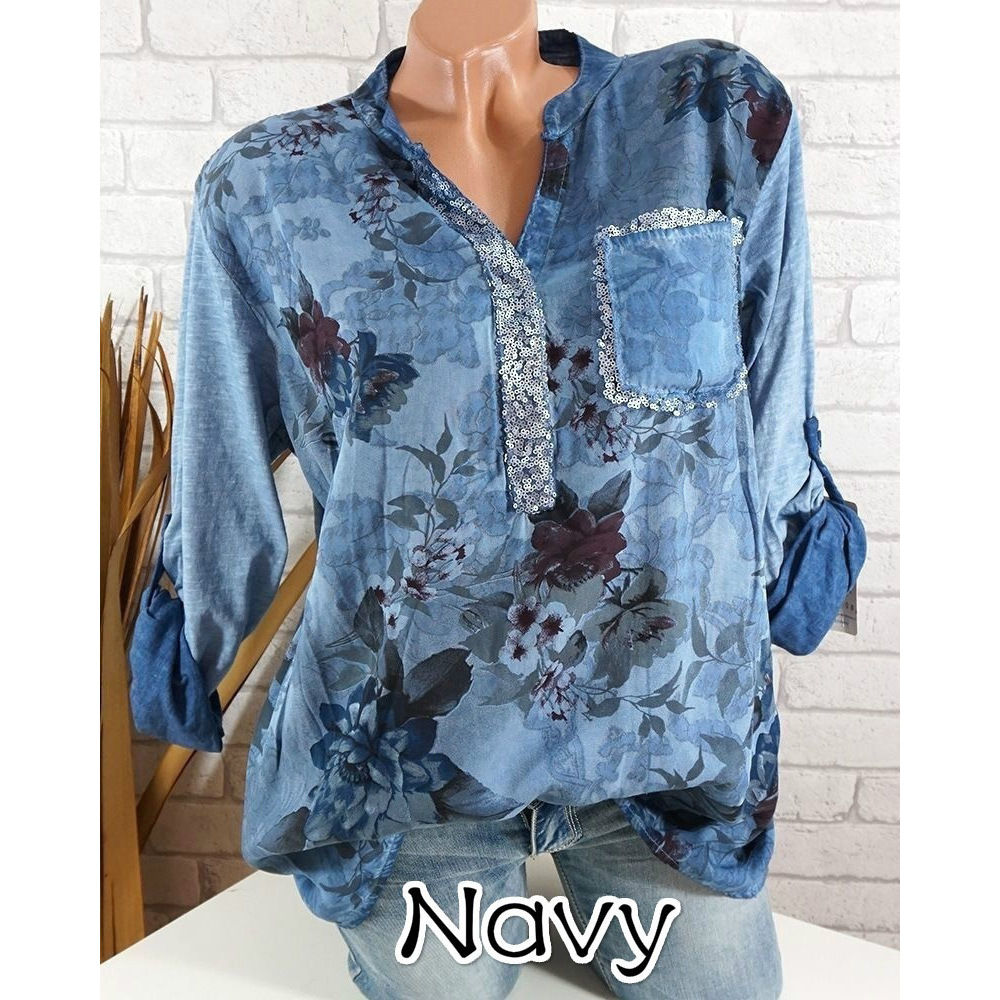 be2c6132ca Boho Long Sleeve Floral Shirt Women V Neck Loose Tops Sequin Pocket Plus  Size Casual Shirt dark blue