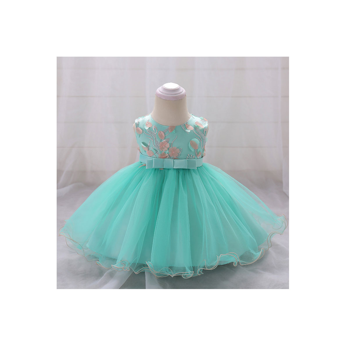 Floral Flower Girls Dress Infant Baby Birthday Baptism Party Gown ...
