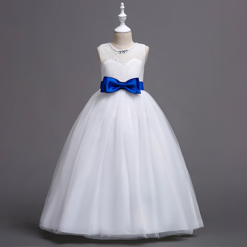 New Flower Girl Dress Bow Wedding Formal Communion Party Gown Kids Children Clothes blue