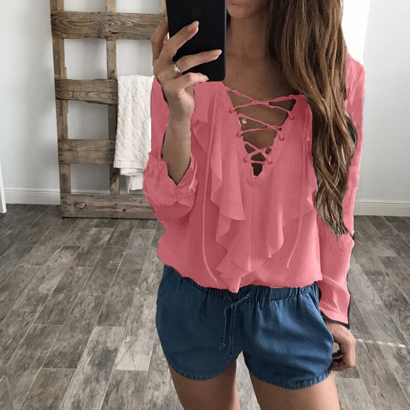 Women Chiffon Blouse Summer Lace Up V Neck Ruffles Long Sleeve Polka Dot Casual Plus Size Tops Shirt pink
