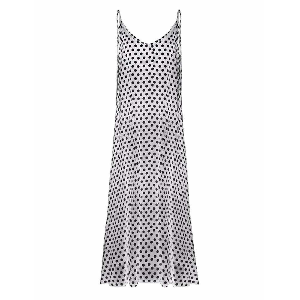 Women Summer Beach Maxi Dress Plus Size Spaghetti Strap Sleeveless Polka Dot Loose Long Sundress off white