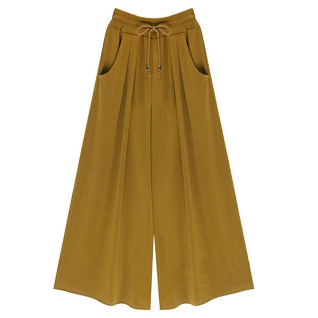 8cb43ba1bf865 Women Wide Leg Pants Summer High Waist Pockets Office Plus Size Loose Casual  Trousers yellow