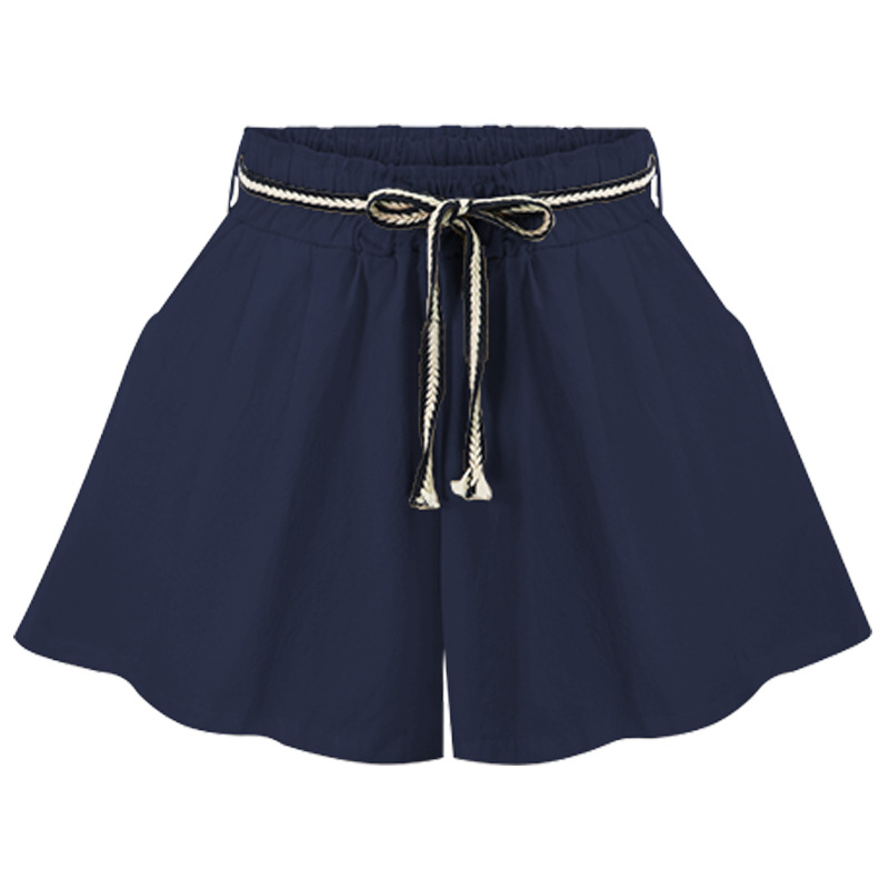 Women Wide Leg Shorts High Waist Belted Beach Summer Streetwear Loose Casual Shorts navy blue