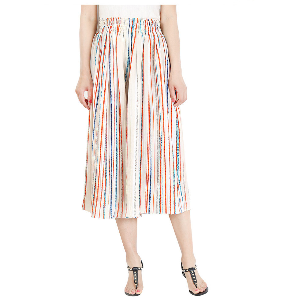 Women Striped Wide Leg Pants Loose High Waist Summer Beach Casual Pleated Trousers orange