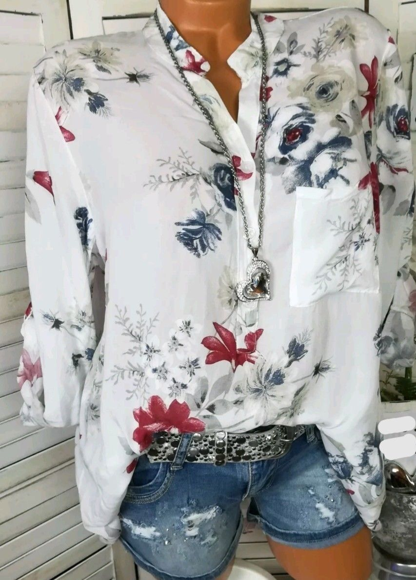 6c6456b0ea8db7 Women Shirt Floral Printed Long Sleeve V Neck Plus Size Casual Loose Tops  Blouse off white