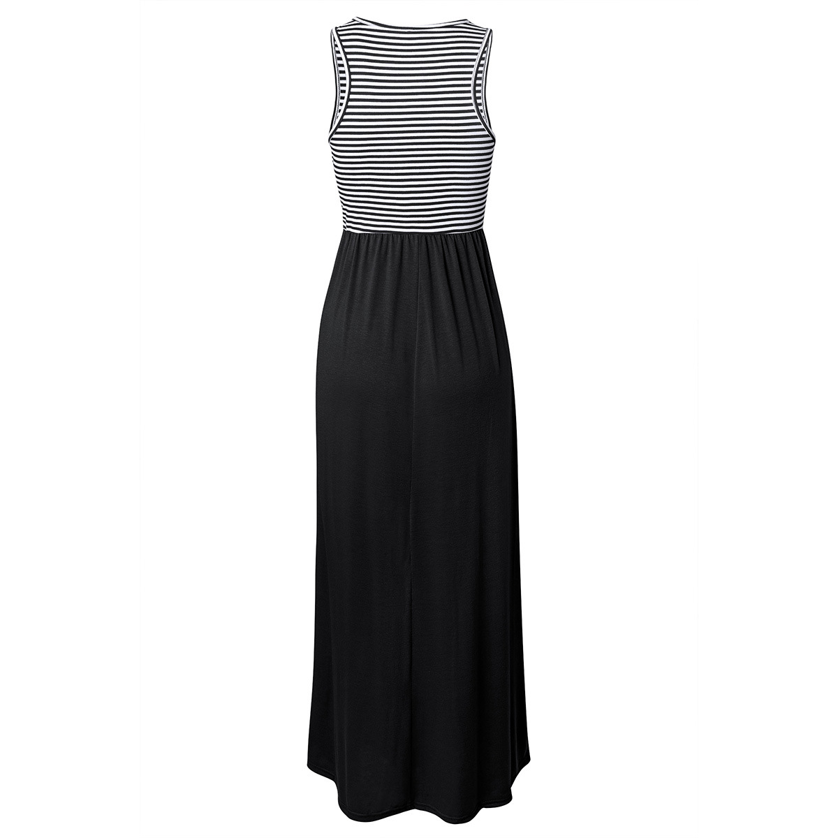 Women Boho Maxi Dress Sleeveless Summer Beach Striped Patchwok Long Sundress black