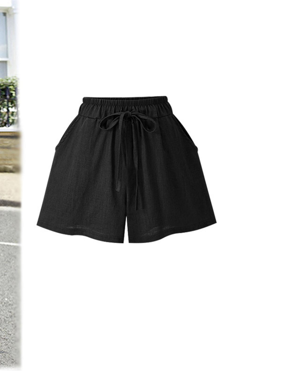Black Elasticised Drawstring High Waisted Shorts