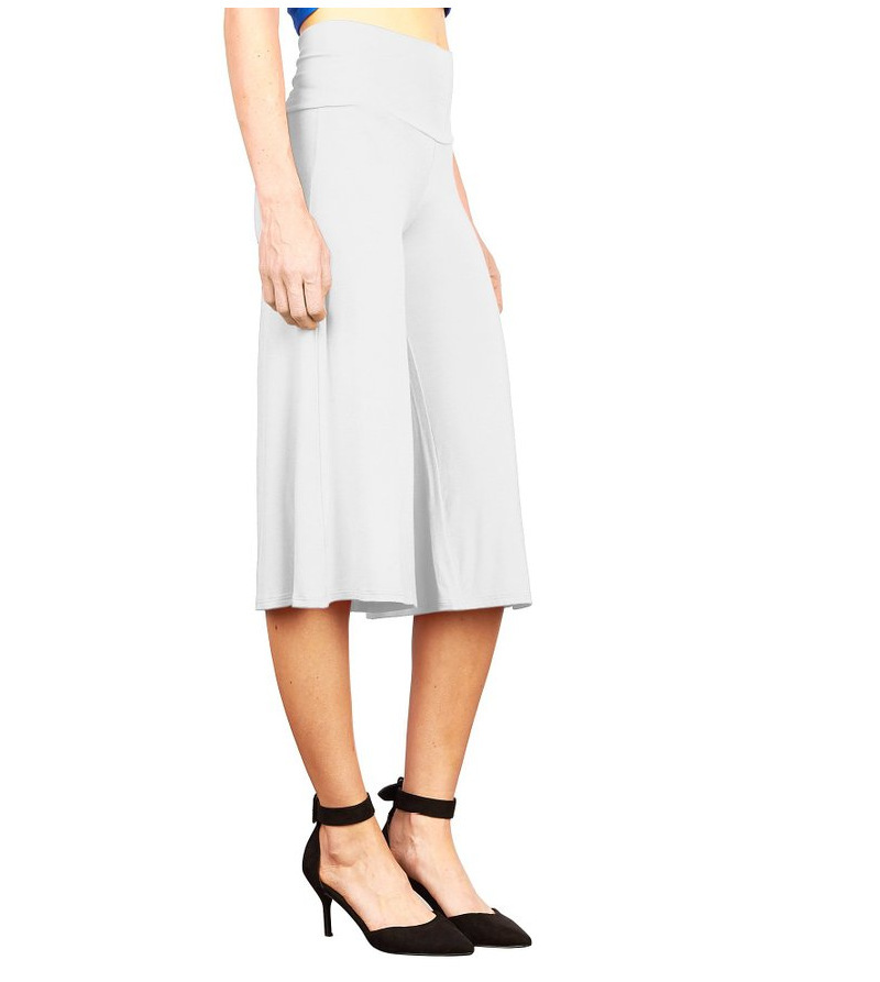 Women Wide Leg Pants High Waist Knee Length Summer Casual Loose Streetwear Trouses off white