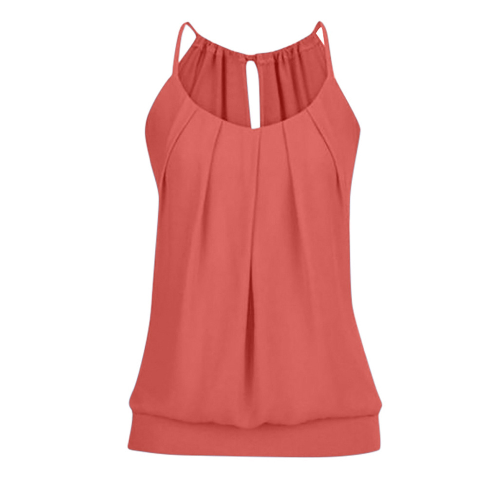 390c2a0c8da Women Tank Top Summer Casual Ruched Plus Size Loose Sleeveless T Shirts  orange