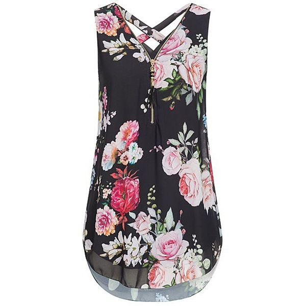 Women Floral Tank Top Summer V Neck Zipper Casual Blouse Loose Sleeveless T-Shirt black