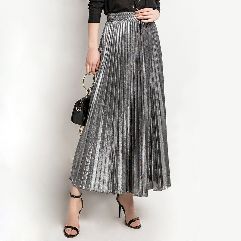 Women Maxi Skirt High Waist Ankle Length Casual Metallic Long Pleated Skirt gray