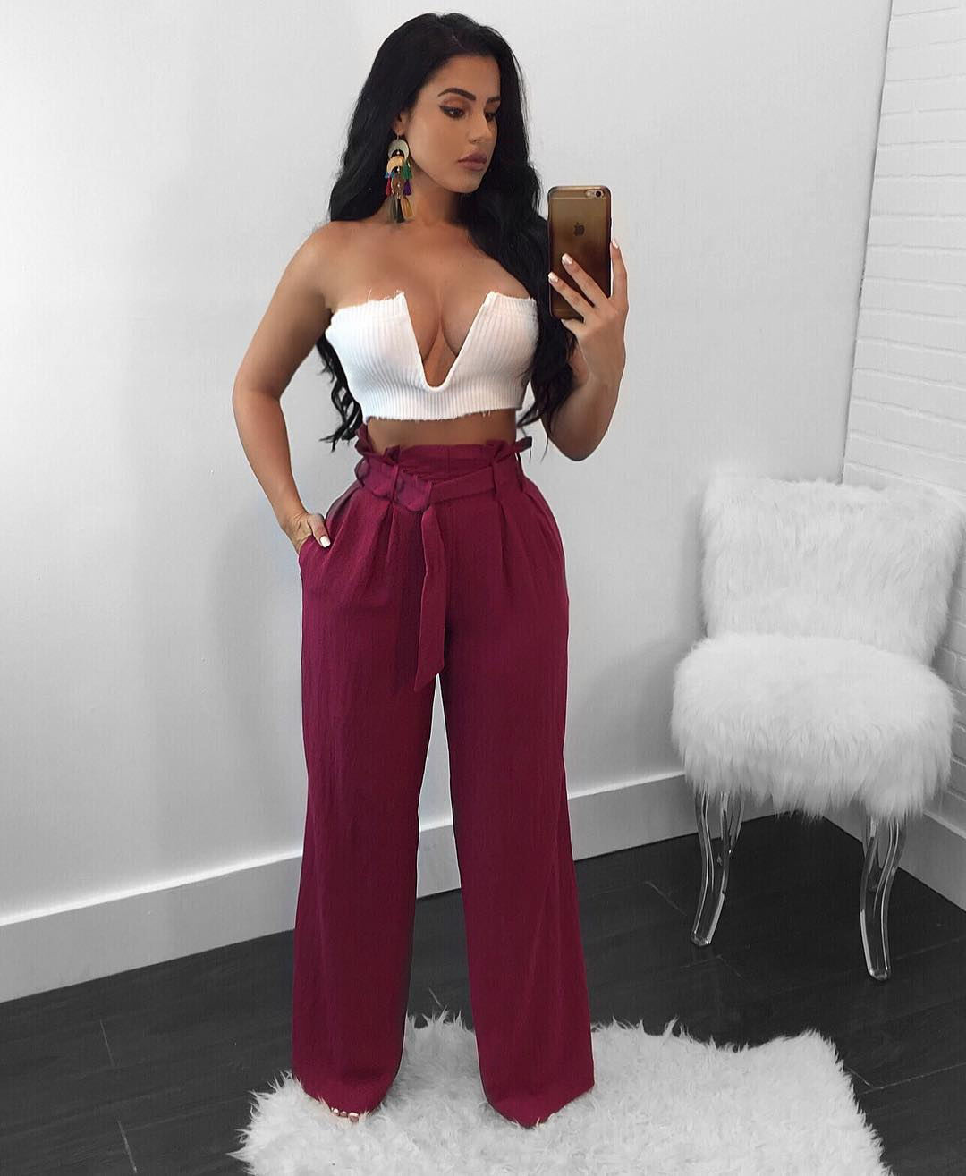Women Wide Leg Pants High Waist Solid Belted OL Office Work Casual LooseLong Trousers fuchsia