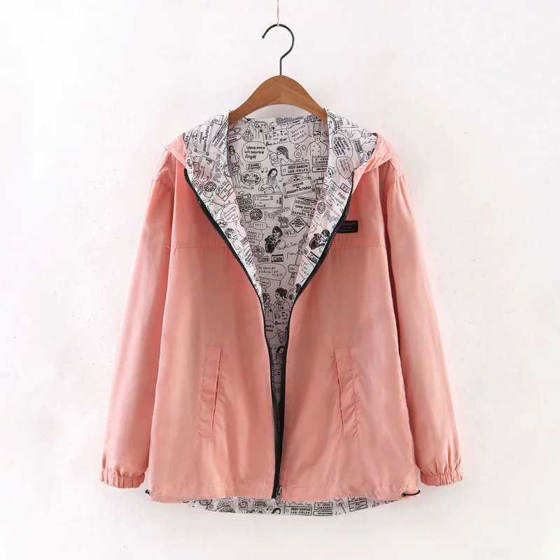 Women Bomber Basic Jacket Spring Fall Pocket Zipper Hooded Two Side Wear Cartoon Print Outwear Loose Coat pink