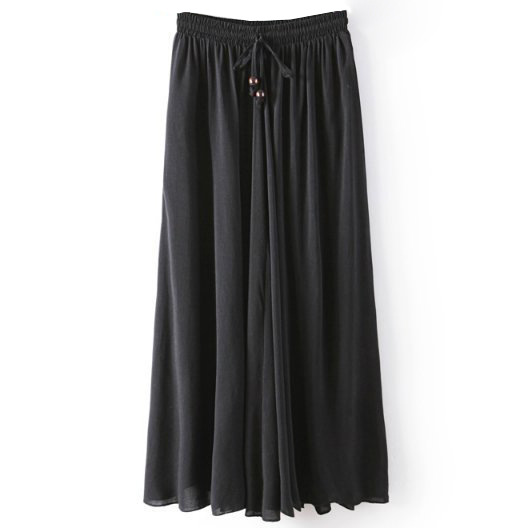 Women Maxi Skirt Summer Fashion Solid Casual Drawstring Elastic Waist Long Pleated Skirt black