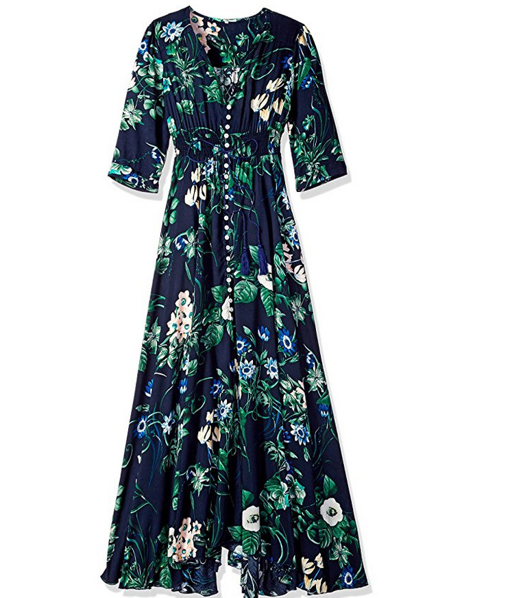 Boho Maxi Dress Women Summer Beach V Neck Short Sleeve Split Floral Printed Long Party Dress navy blue half sleeve