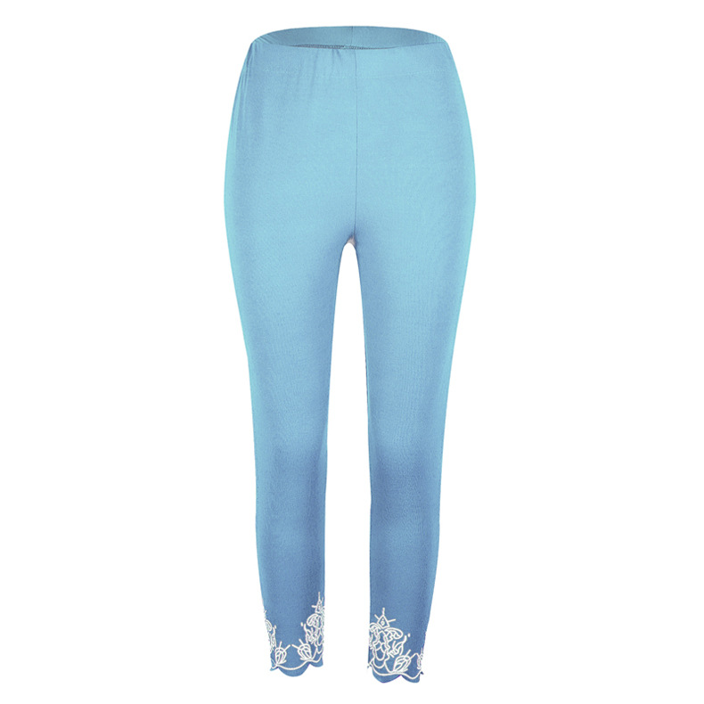 Women Leggings Floral Lace Hollow Out Slim Skinny Casual Plus Size Pencil Pants sky blue