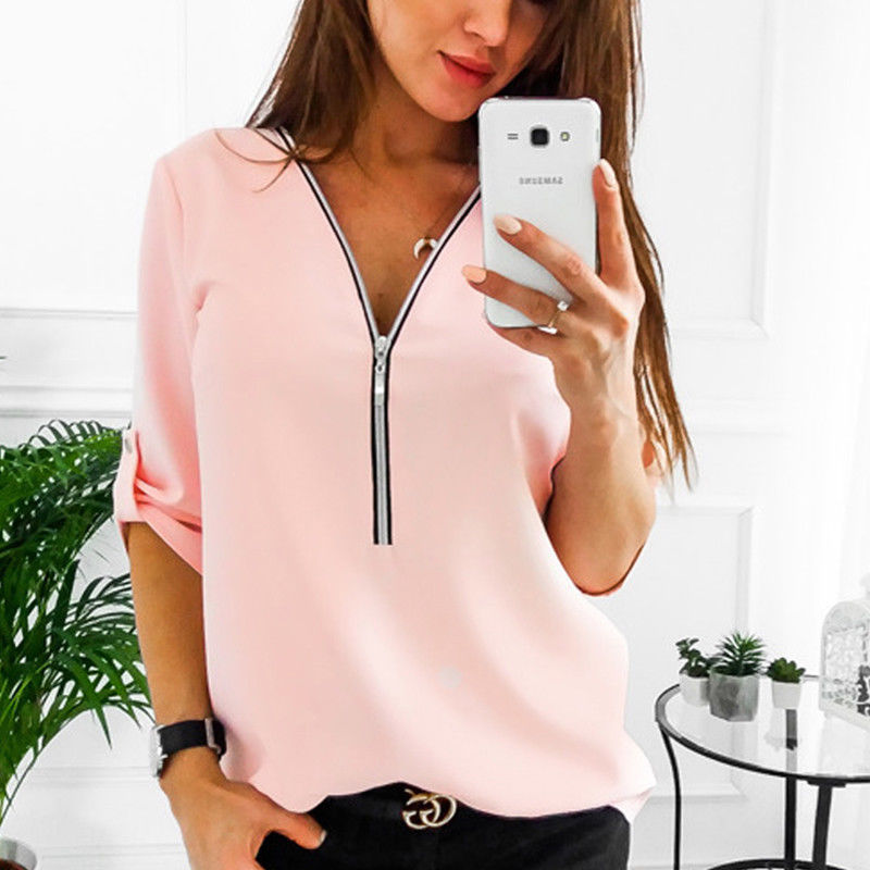 Women Blouses V Neck Zipper Long Sleeve Solid Summer Casual Loose Tops Shirt pink