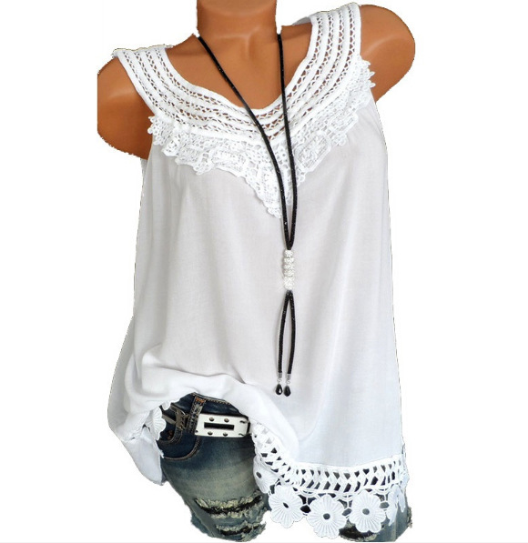 Women Tank Tops Lace Patchwork Vest Summer Casual Loose Sleeveless T Shirt off white