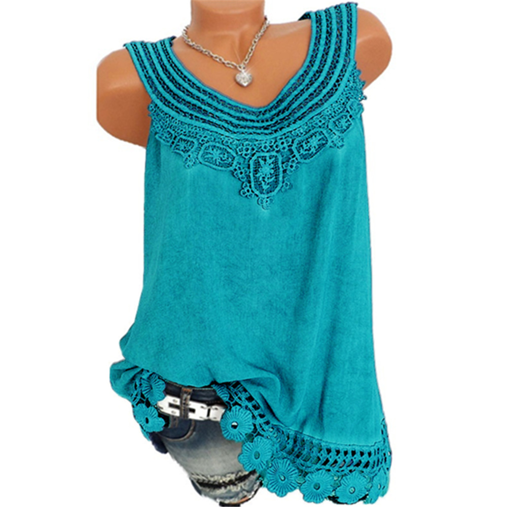 4e359afe Women Tank Tops Lace Patchwork Vest Summer Casual Loose Sleeveless T Shirt  turquoise