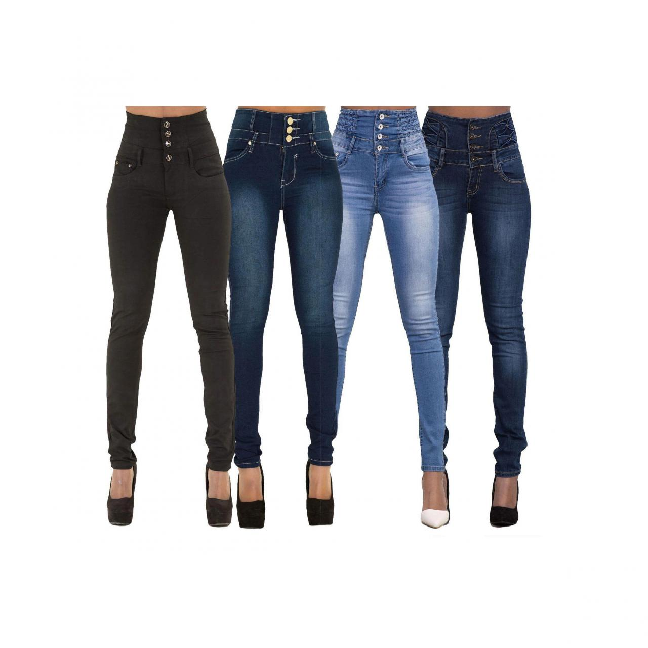 Woman Denim Pencil Pants High Waist Skinny Bodycon Jeans Long Trousers black