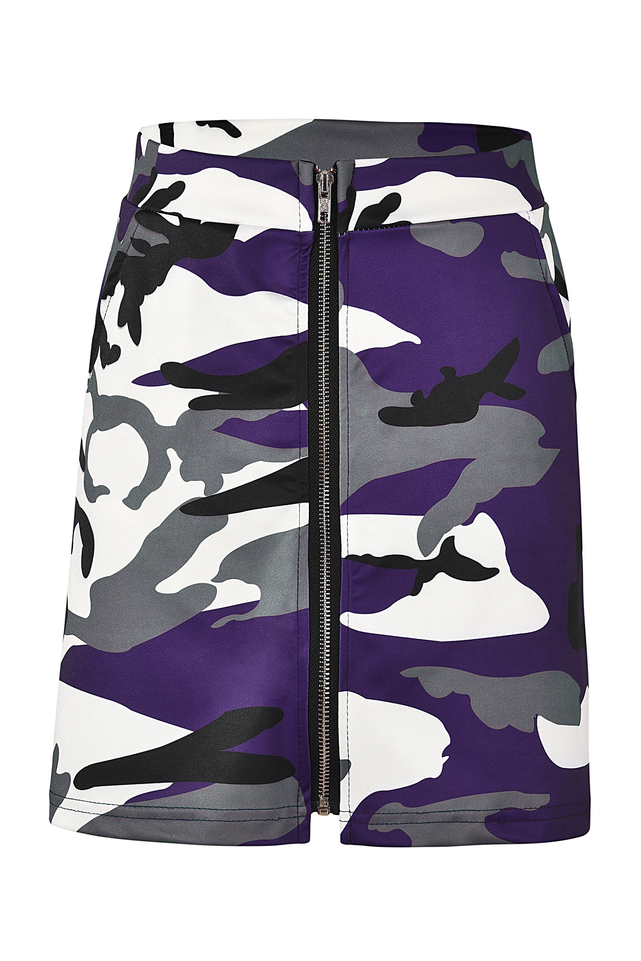 Women Camouflage Mini Skirt Front Zipper High Waist Sexy Slim Shoot Bodycon Skirt purple