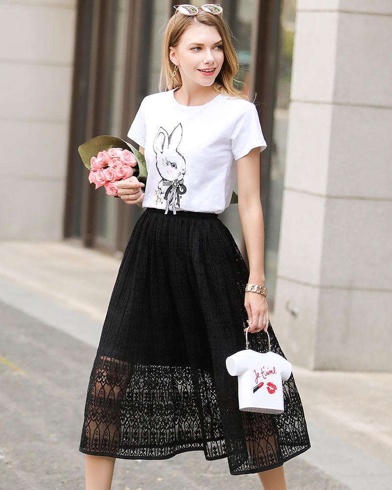 Women Lace Skirt Elegant Elastic High Waist Hollow Out Summer Casual Midi Skirt black