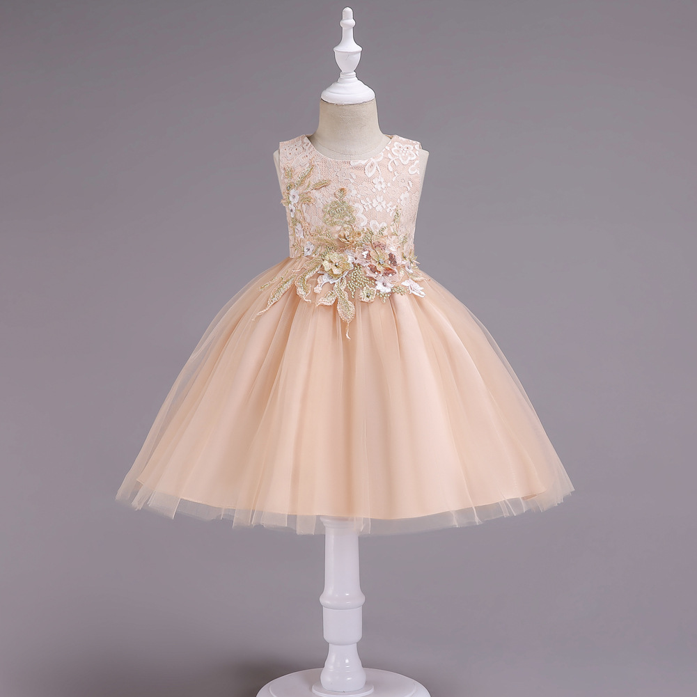 Lace Flower Girl Dress Sleeveless Princess Formal Birthday Party Tutu Gown Kids Children Clothes champagne