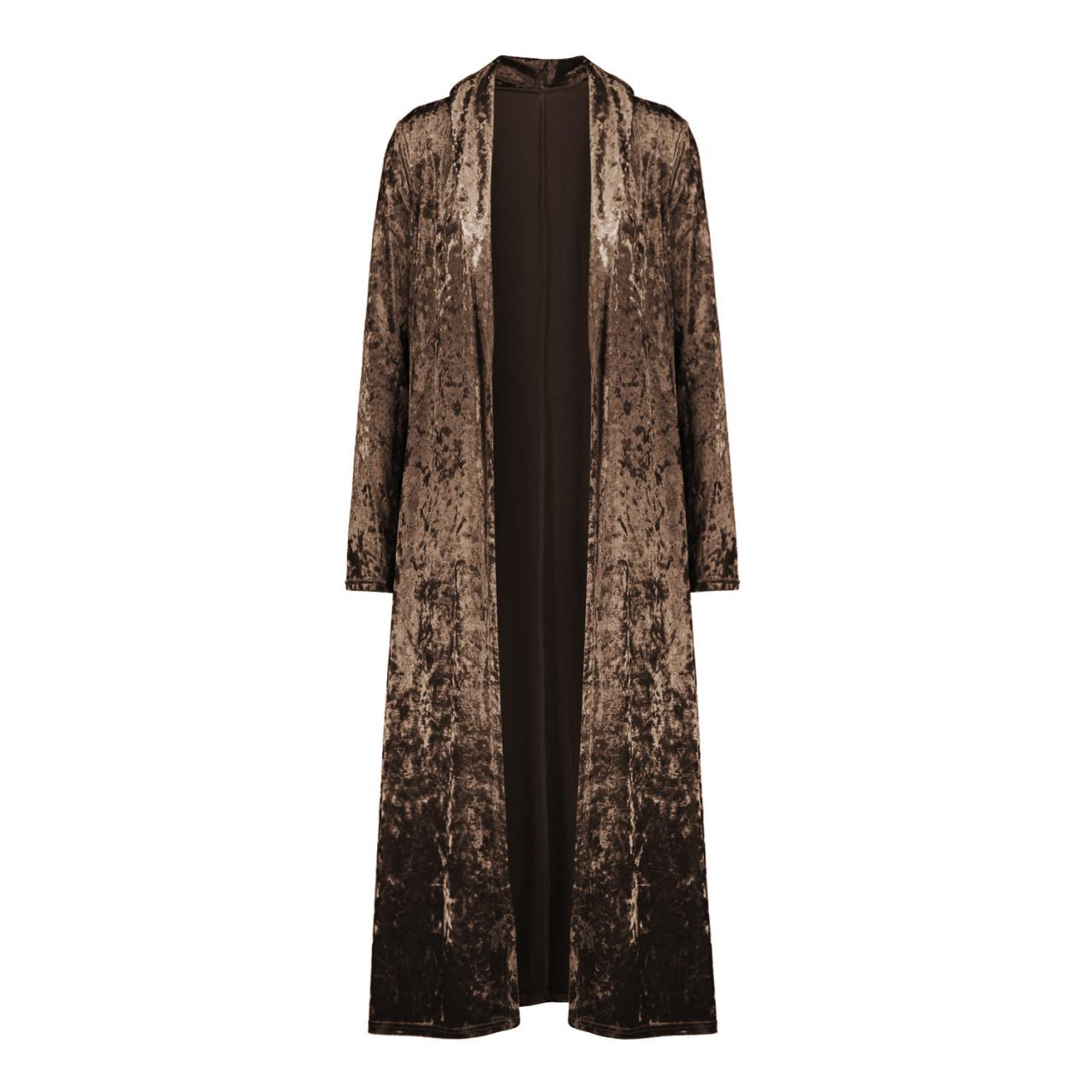 Women Velvet Trench Coat Autumn Slim Fit Long Sleeve Open Stitch Casual Long Maxi Cardigan Jackets coffee