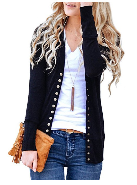 Women Cropped Cardigan V Neck Long Sleeve Button Slim Short Sweater Coat Jacket black