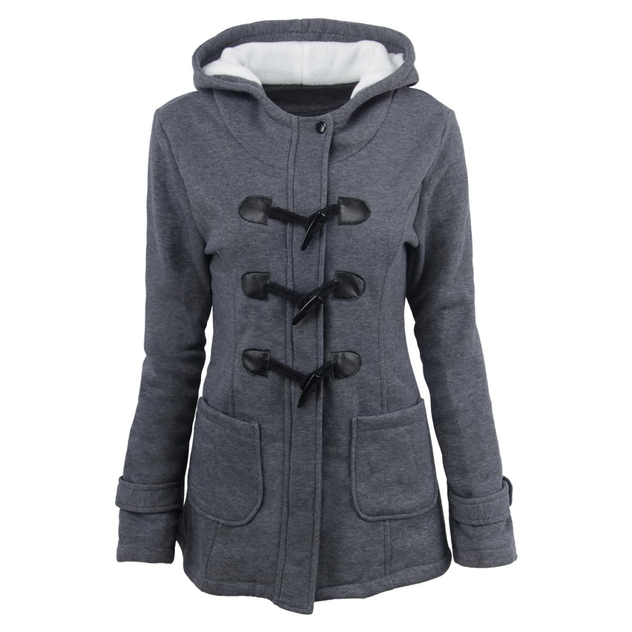 Women Parka Jacket Hooded Solid Warm Horns Buckle Winter Long Sleeve Slim Wadded Long Casual Coat dark gray