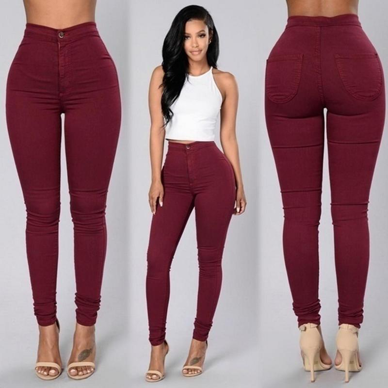 2a53514bb13 Women Pencil Pants Candy High Waist Casual Slim Female Stretch Skinny  Trousers burgundy