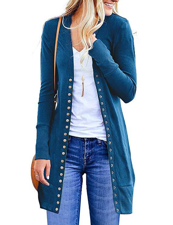 Women Knitted Cardigan V Neck Button Long Sleeve Autumn Casual Slim Sweater Coat blue