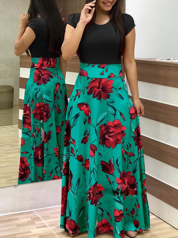 Women Floral Printed Maxi Dress Short Sleeve Boho Summer Beach Casual Long Party Dress green