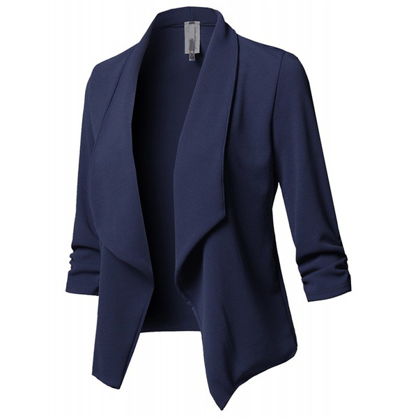 Women Suit Coat Casual Long Sleeve Autumn Work Office Business Slim Basic Long Blazer Jacket Outerwear navy blue