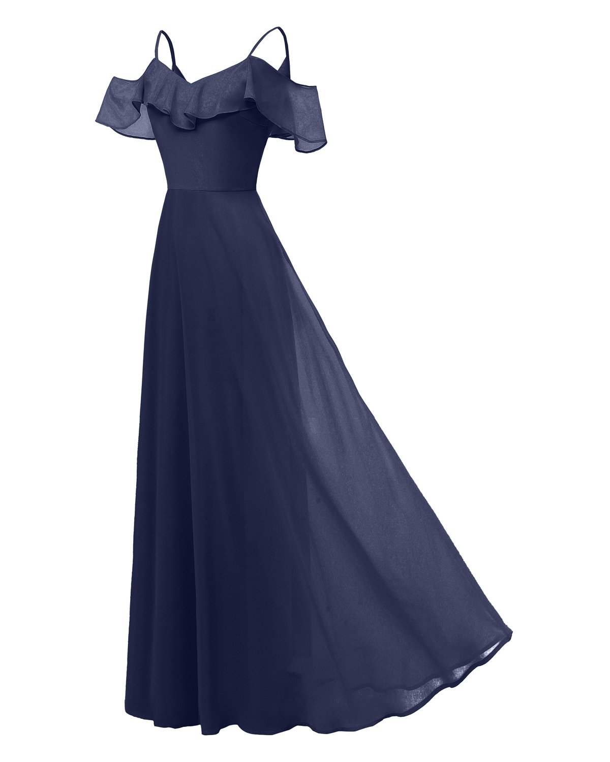 0cbcac6dd28 Women Chiffon Maxi Dress Ruffle Spaghetti Straps Off Shoulder Long Evening  Party Bridesmaid Dress navy blue