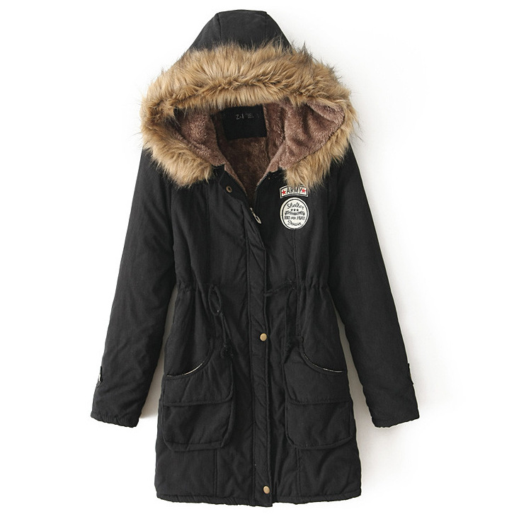 Winter Women Cotton Coat Parka Casual Military Hooded Thicken Warm Long Slim Female Jacket Outwear black