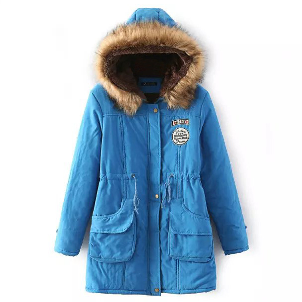 Winter Women Cotton Coat Parka Casual Military Hooded Thicken Warm Long Slim Female Jacket Outwear Lake Blue