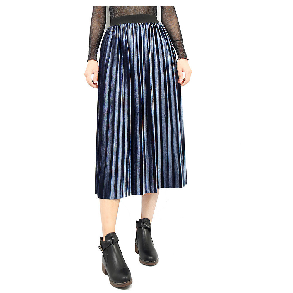 Women Velvet Pleated Skirt Autumn Winter Elastic High Waist Streetwear European Style Casual Midi Skirt blue