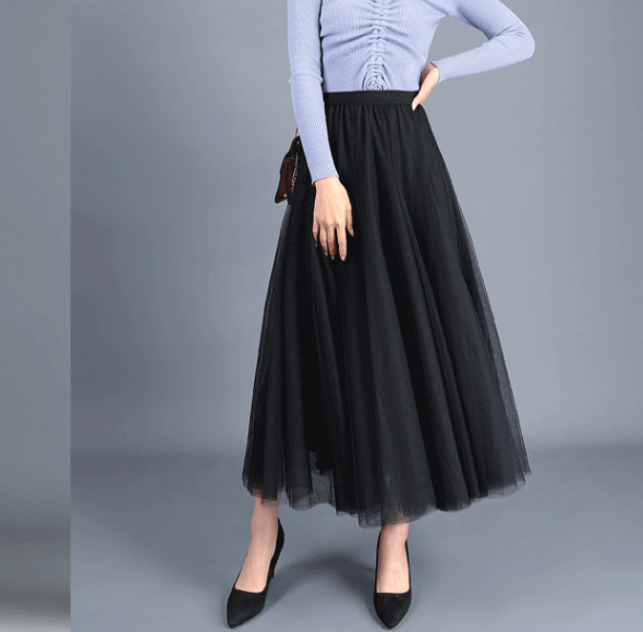 04880dc435 Women Long Tulle Mesh Skirt Elastic High Waist Streetwear Pleated Tutu A  Line Maxi Skirt black