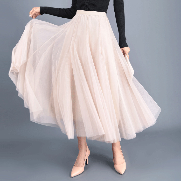 Women Long Tulle Mesh Skirt Elastic High Waist Streetwear Pleated Tutu A Line Maxi Skirt cream