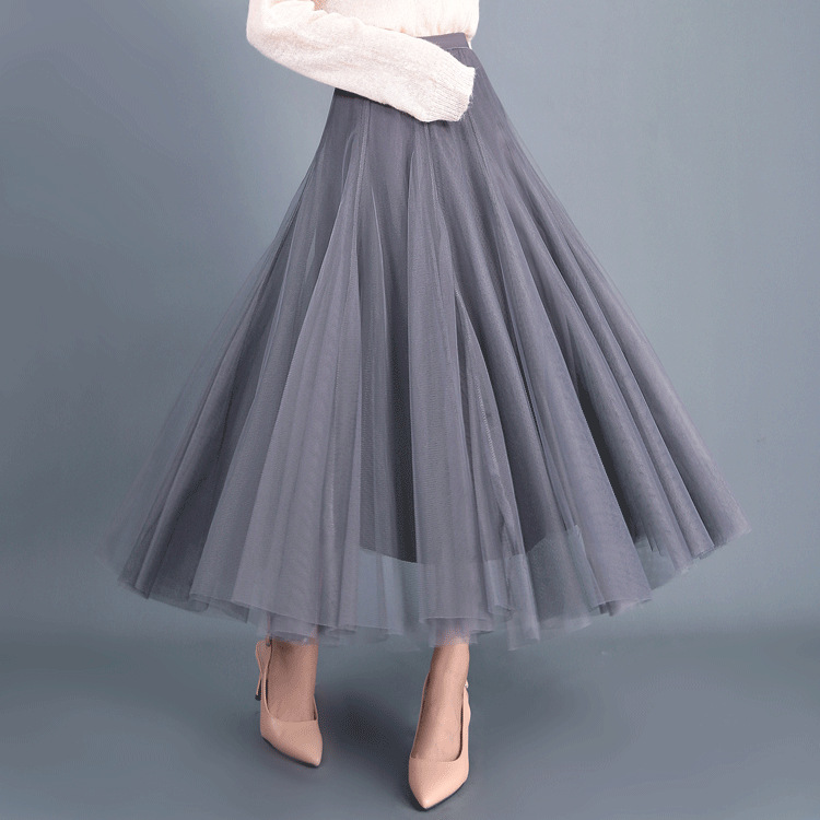 Women Long Tulle Mesh Skirt Elastic High Waist Streetwear Pleated Tutu A Line Maxi Skirt gray
