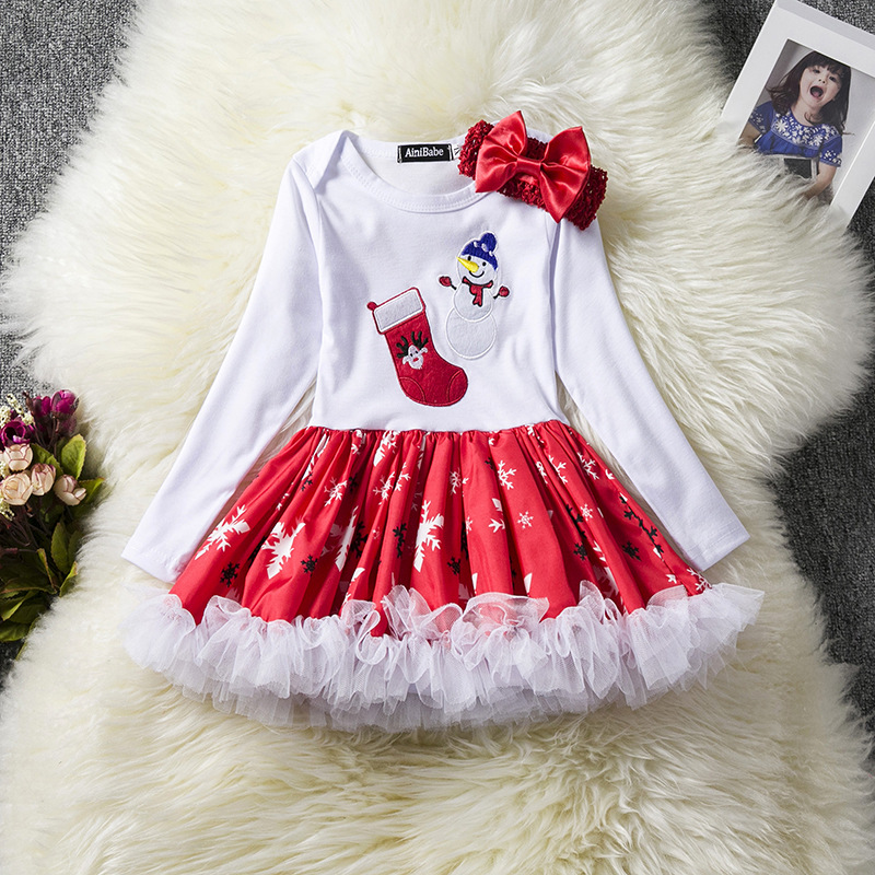 Toddler Kids Baby Girls Dress Long Sleeve Santa Claus Children Ball Gown Party Birthday Christmas Clothes 6#