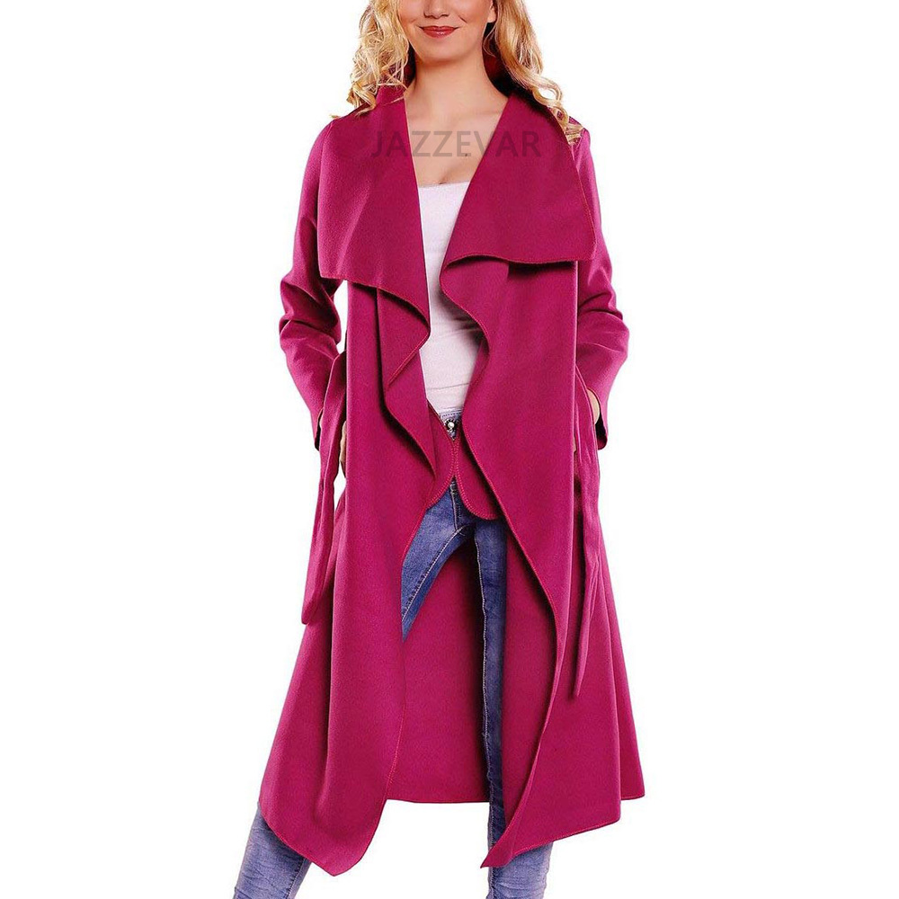 b40fcd36d2db Women Wool Blend Trench Coat Autumn Winter Lapel Casual Long Sleeve ...